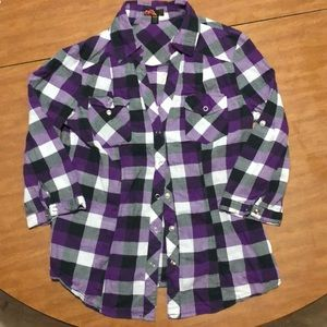 Purple plaid snap button top